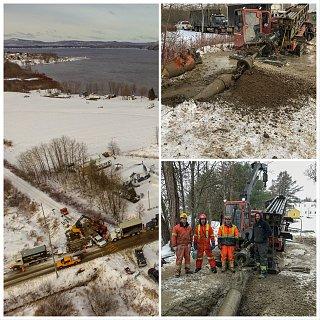 Décembre 2018, Installation d'une conduite d'aqueduc PVC de 300mm sur une longueur de 1.2km sous une piste cyclable ainsi que la traverse de la rivière Cabano.